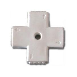 Conector Rigido tipo Cruz para tira LED rgb