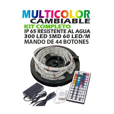 Kit Tira de LED 5050,5M,Resistente al agua,PVC Blanco