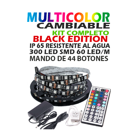 Kit Tira de LED 5050,5M,Resistente al agua, BLACK EDITION